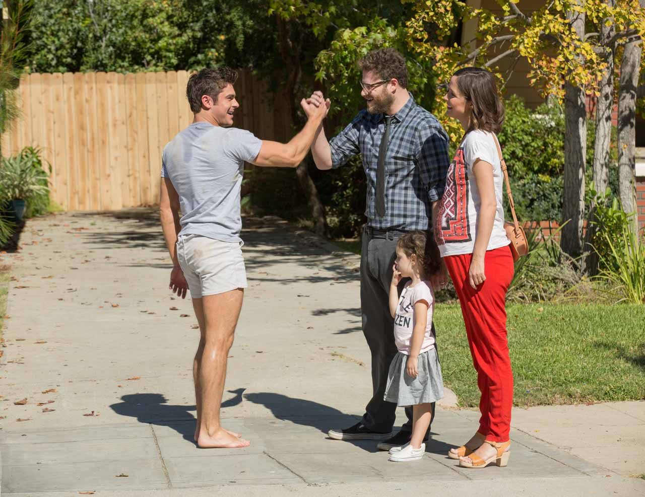 neighbors Parents need to know that neighbors is a raunchy, hard-r comedy about a hard-partying college fraternity that moves in next door to a married couple with a baby starring seth rogen, zac efron, rose byrne, and dave franco, the comedy is overwhelmingly about sex, drugs, and pranks that aren't appropriate for most teens.